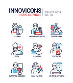 Home services - vector line design style icons set