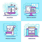 Business and services - set of line design style colorful illustrations