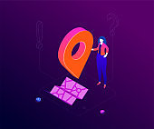 We are here - modern colorful isometric vector illustration