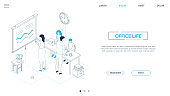 Office life - line design style isometric web banner