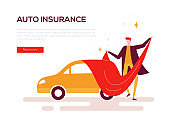 Auto insurance - colorful flat design style web banner