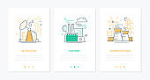 Manufacturing concept - line design style banners set