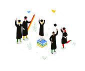 Graduation concept - modern colorful isometric vector illustration