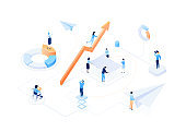 Business growth - modern colorful isometric vector illustration