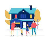 Real estate agency - colorful flat design style illustration