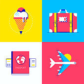 Summer vacation - colorful flat design style elements