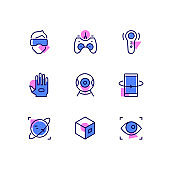 Virtual reality - line design style icons set