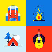 Tourism and camping - colorful flat design style elements