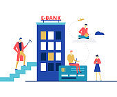 E-banking concept - flat design style colorful illustration