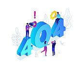 Error 404 page - modern colorful isometric vector illustration