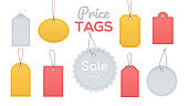 Price tags collection - flat design style clip art