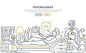 Psychologist - modern line design style web banner