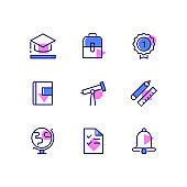 Education - modern line design style icons set