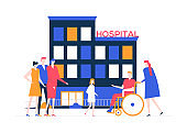 Discharge from the hospital - colorful flat design style illustration