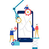 Mobile repair service - flat design style colorful illustration