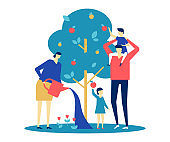 Happy family - flat design style colorful illustration