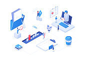 Workflow management - modern colorful isometric vector illustration