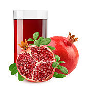 pomegranate juice, isolated on white background, full depth of field, clipping path