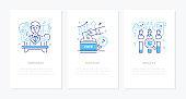 Politics concept - line design style banners set
