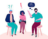 Group therapy - modern colorful flat design style illustration