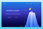 Financial success - modern isometric vector web banner