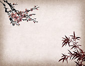 Traditional chinese painting Spring plum blossom and bamboo