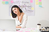 Office syndrome concept. Beautiful young asian businesswoman with office syndrome have problem with part of body arm shoulder head neck back healthy problem after working on laptop for a long time.
