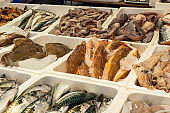 Fish variety for sale at a store display in Rotterdam Netherlands.