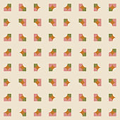 Geometric seamless pattern. Vector background with simple shapes like semi circles and squares in neutral muted pastel colors.