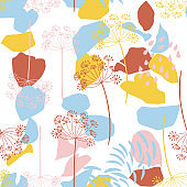 Vector organic floral seamless abstract background, botanical motif, freehand doodles pattern.