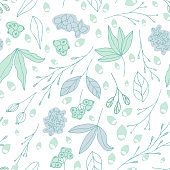 Floral vector seamless pattern with  flowers, leaves and berries. Beautiful hand drawn flowers in  light pastel colors in vintage style.