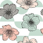 Stylized anemone or poppies flowers, vector seamless pattern. Hand drawn floral background in retro pastel colores and geometric shapes.