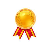 Gold medal red ribbon with relief detail. Gold medal for first place. Gold medal cartoon realistic icon on a white background
