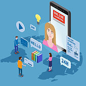 Online education training coaching, workshops and courses. Flat 3d isometric design. Students studying, with smartphone, pile of books icon set and mentor masterclass. Vector illustration isolated
