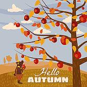 Hello Autumn apple tree Cute bear in pants with apple landscape fruit harvest season in trend style flat cartoon panorama horizon. Illustration vector isolated banner postcard poster