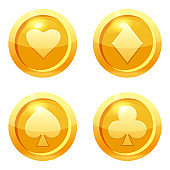 Set game coins card suits of clubs, hearts, diamonds, spades gold icon, game interface, gold metal. For web, game or application GUI UI. Vector illustration isolated