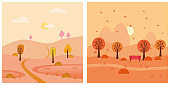 Set autumn landscape trees sun rural. Vector isolated minimal cartoon style, template baner poster