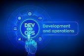 Devops. Agile development and optimisation concept on virtual screen. Software engineering. Software development practices methodology. Robotic hand touching digital interface. Vector illustration.