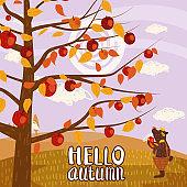 Hello Autumn apple tree Cute bear in pants with apple landscape fruit harvest season lettering in trend style flat cartoon panorama horizon. Illustration vector isolated banner postcard poster