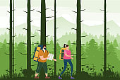Tourists cute couple with map and backpacks performing outdoor touristic activity. Forest trees mountain landscape. Adventure travel, hiking walking trip tourism wild nature trekking. Pair of tourists, backpackers or friends on trip. Flat cartoon colorful