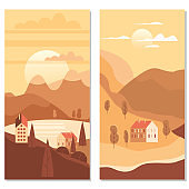 Landscape rural suburban traditional buildings, hills and trees mountains sea sun in trendy minimal geometric flat style. Vector, isolated vertical. Social media stories baner poster template