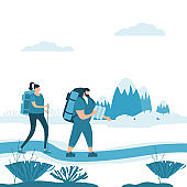 Tourists cute couple in love performing outdoor touristic activity - adventure travel, hiking walking trip tourism sport and recreation backpacking or camping wild nature trekking. Mountain landscape. Pair of tourists, backpackers or friends on trip. Flat