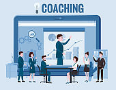 Business coaching, people man and woman training talking, discussing. With big laptop notebook chart and graph statistics background. Vector isolated illistration cartoon flat style