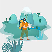 Tourist man with map and backpack performing outdoor touristic activity. Forest trees mountain landscape. Adventure travel, hiking walking trip tourism wild nature trekking. Flat cartoon colorful vector illustration