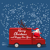 Merry Chrismas Santa Claus Van delivering gifts. Flat cartoon style vector illustration greeting card poster banner