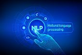 NLP. Natural language processing cognitive computing technology concept on virtual screen. Natural language scince concept. Robotic hand touching digital interface. Vector illustration.