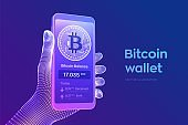 Bitcoin wallet interface on smartphone screen. Cryptocurrency payments and blockchain technology based digital money concept. Closeup mobile phone in wireframe hand. Vector illustration.