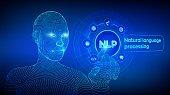 NLP. Natural language processing cognitive computing technology concept on virtual screen. Natural language scince concept. Wireframed cyborg hand touching digital interface. Vector illustration.