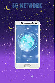 5G internet new mobile wireless technology wifi connection. Smartphone with Earth planet. Fifth innovative generation of the global high speed Internet network. Vector concept illustration isolation template
