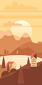 Autumn landscape rural suburban traditional buildings, hills and trees mountains lake sun in trendy minimal geometric flat style. Vector, isolated vertical. Social media stories baner poster template